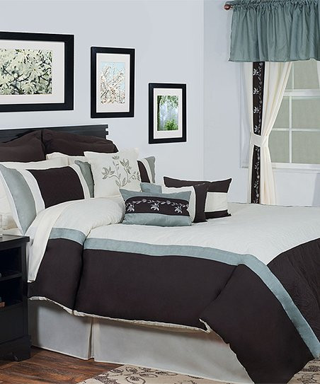Bedroom In A Bag with Curtains Bexely Home Chocolate & White Annette Room In A Bag 24 Piece