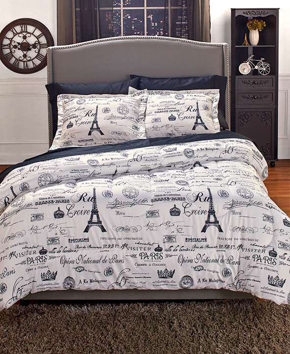 Bedroom In A Bag with Curtains forter Set or Curtains Paris themed Eiffel tower Parisian