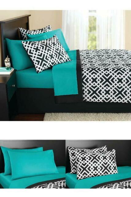 Bedroom In A Bag with Curtains Twin Full Queen King forter Set Aqua Black Geo Bed In A Bag 8 Piece Plete