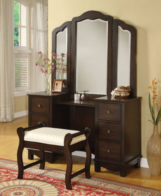 Bedroom Vanity with Drawers Annapolis Espresso 2 Piece Plete Vanity Set