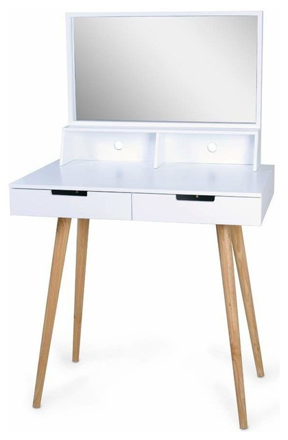 Bedroom Vanity with Drawers Contemporary Makeup Vanity Table Wood 2 Drawer and Mirror