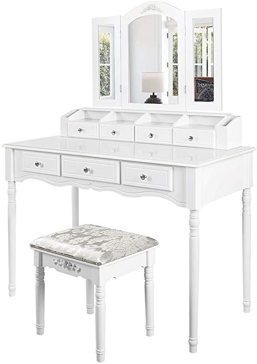 Bedroom Vanity with Drawers M&w Makeup Vanity Table Set with Tri Folding Mirror Dressing Table and Cushioned Stool with 7 Drawers for Bedroom White