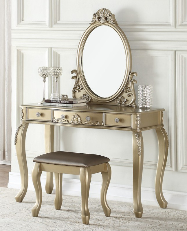 Bedroom Vanity with Drawers Poundex F4166 3 Pc Champagne Finish Wood Make Up Bedroom Vanity Set Curved Legs Stool and Mirror