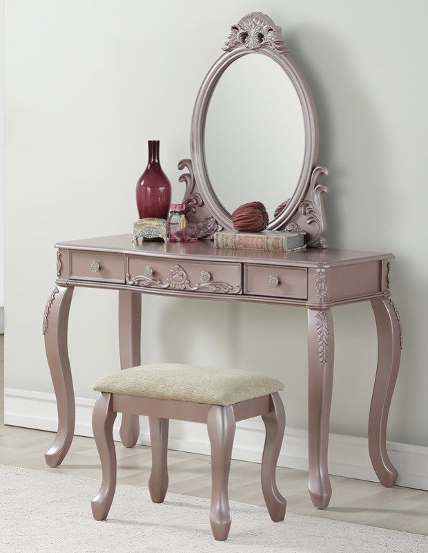 Bedroom Vanity with Drawers Poundex F4169 3 Pc Rose Gold Finish Wood Make Up Bedroom Vanity Set Curved Legs Stool and Mirror