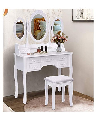 Bedroom Vanity with Drawers Spsupe Spsupe Vanity Set with Tri Folding Oval Mirror 7 Storage Drawers and Cushioned Stool Makeup Dressing Table with Removable top Wood Dresser