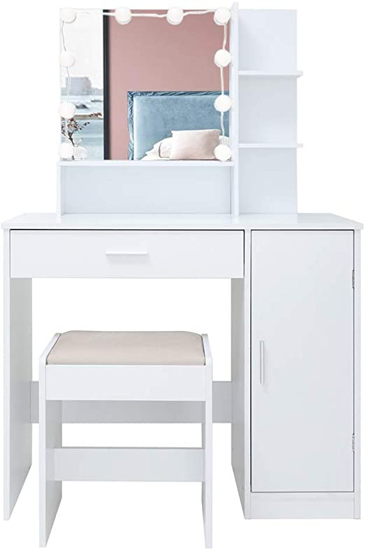 Bedroom Vanity with Light Vanity Set with 10 Light Bulbs Makeup Table Vanity Dressing Table 1 Drawer 1 Storage Cabinet 1 Cushioned Stool for Bedroom Bathroom White
