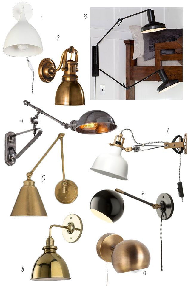 Bedroom Wall Light Fixtures Night Brights 9 Brass Black and White Wall Sconces for