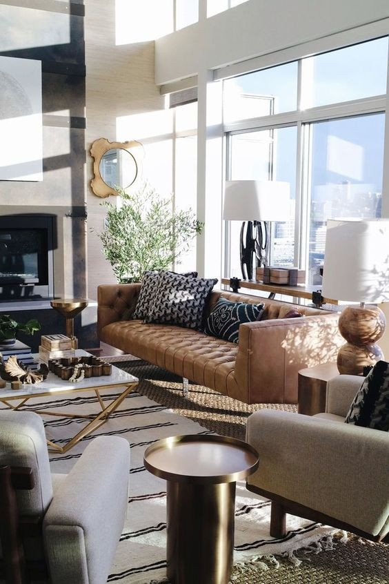 Beigh Modern Living Room Decorating Ideas Tanned Leather sofas are the Hottest Decorating Trend Of