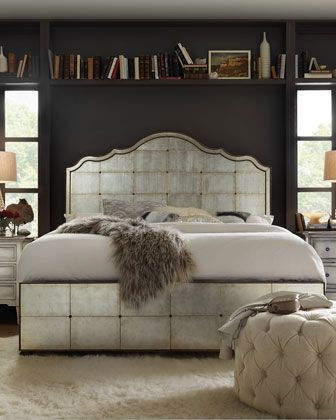 Best Bedroom Furniture Brands Visage Eglomise Mirrored Panel Bed California King