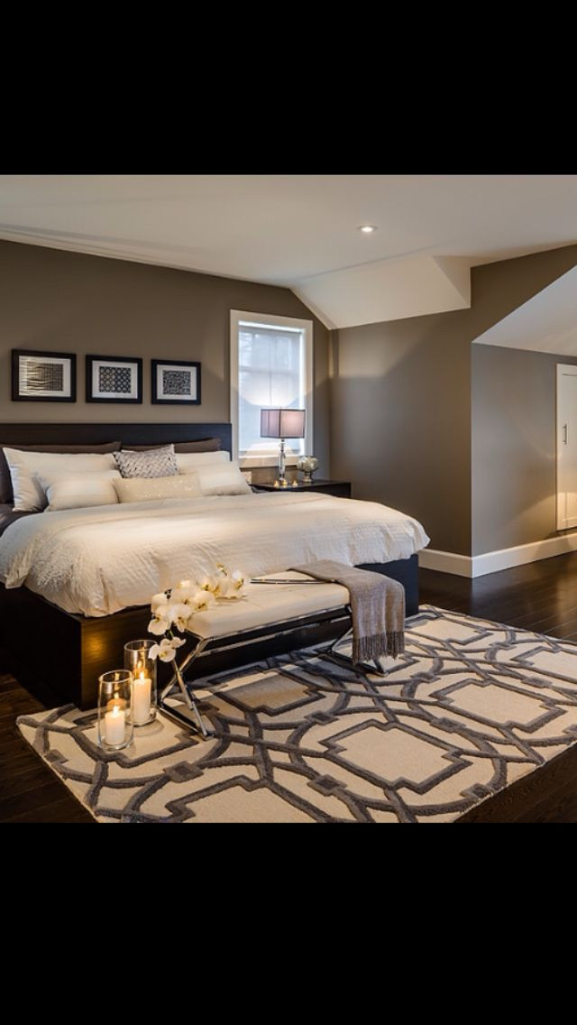 Black and Brown Bedroom Love the Wall Color with Black Bed and Off White Bedding