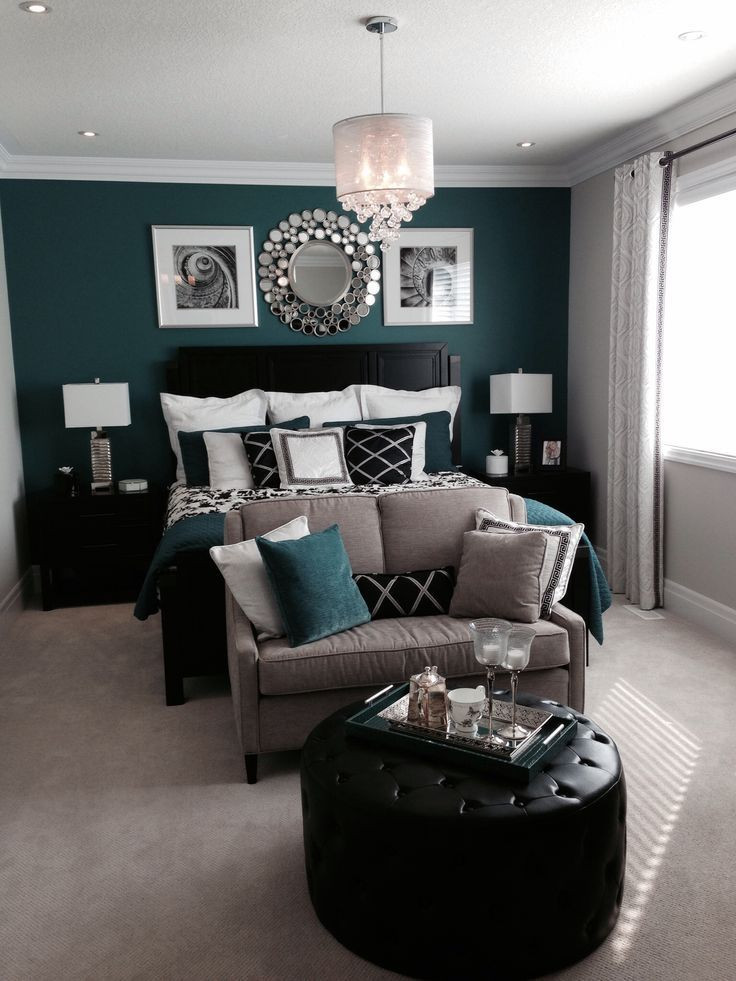 Black and Silver Bedroom Ideas Bedroom with A Beautiful Green or Teal Feature Accent Wall
