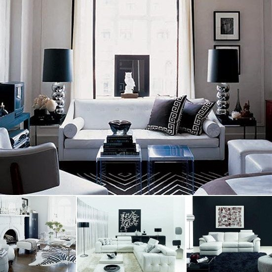 Black and White Living Room Decorating Ideas White and Black Room Ideas