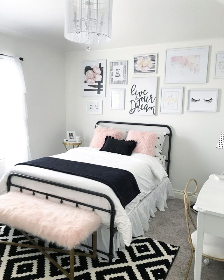 Black and White Teenage Bedroom Black and Blush Pink Girls Room Decor Great Teenager Girls