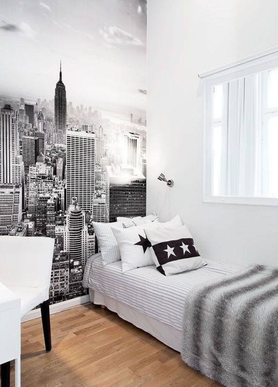 Black and White Teenage Bedroom Black and White City Wall Art