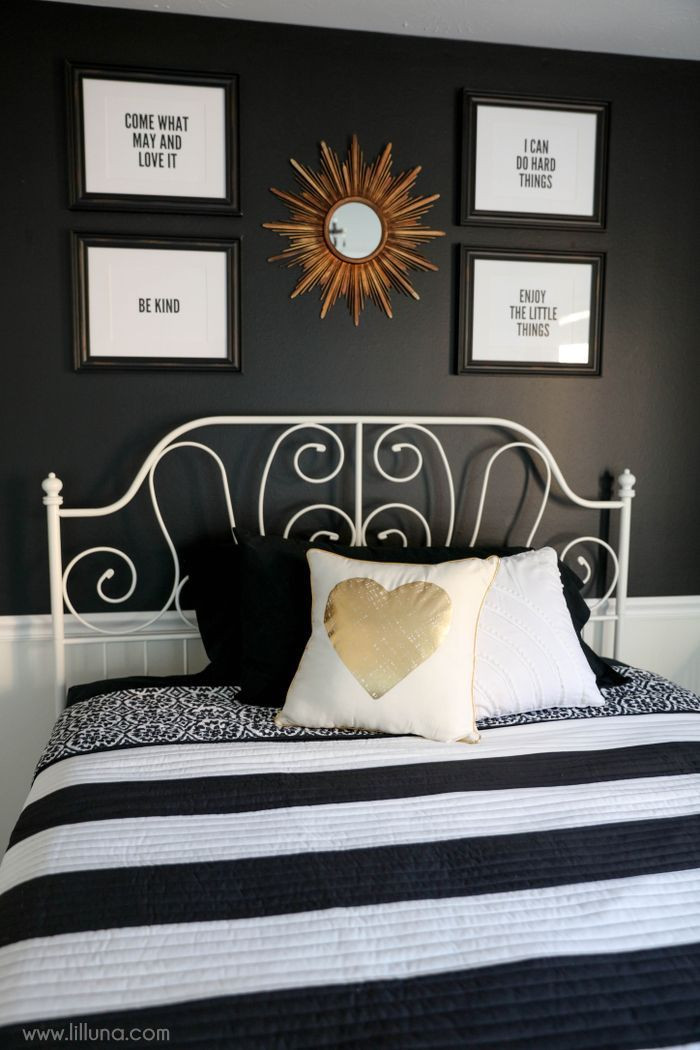 Black and White Teenage Bedroom Black White and Gold Guest Bedroom so Simple and