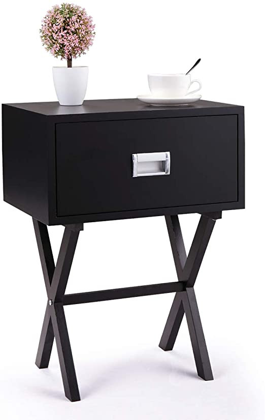Black Bedroom Side Table Amazon Modern Accent Night Stand Wood Bedroom Side