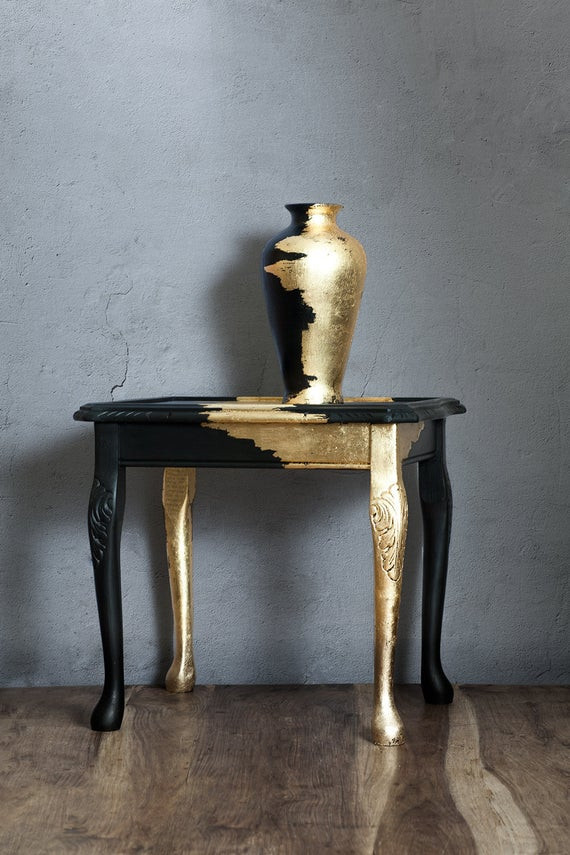 Black Bedroom Side Table Coffee Table Furniture Vintage Table Furniture Gold Leaf Wooden Handmade Black and Gold Vase Living Room Bedroom Side Hallway Table Unique
