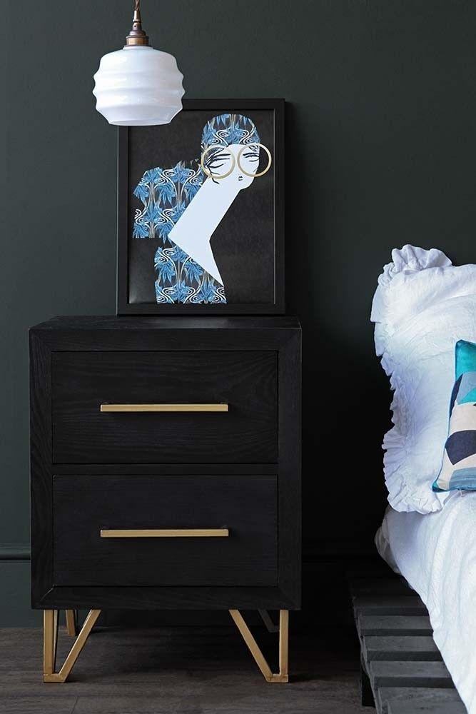 Black Bedroom Side Table Eiffel Black & Gold Bedside Table From Rockett St George