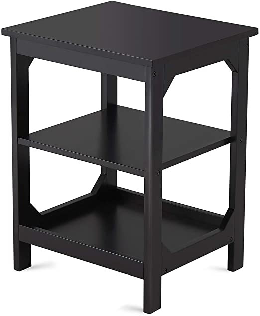Black Bedroom Side Table Taohfe End Table Black Nightstand Bedside Side Tables for Bedroom Kitchen Home Apartment 3 Tiered Living Room Storage Stand for Magazine Books