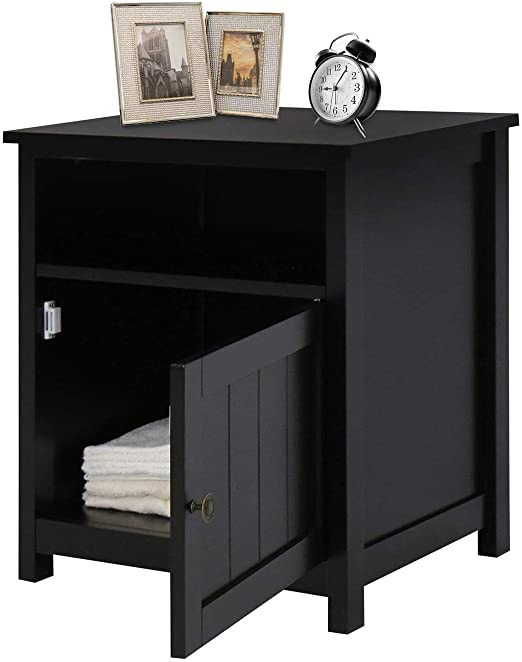 Black Bedroom Side Table Wooden Side Table Nightstand with Cube Storage Black Bedroom Bedside Table with organize Storage Shelf