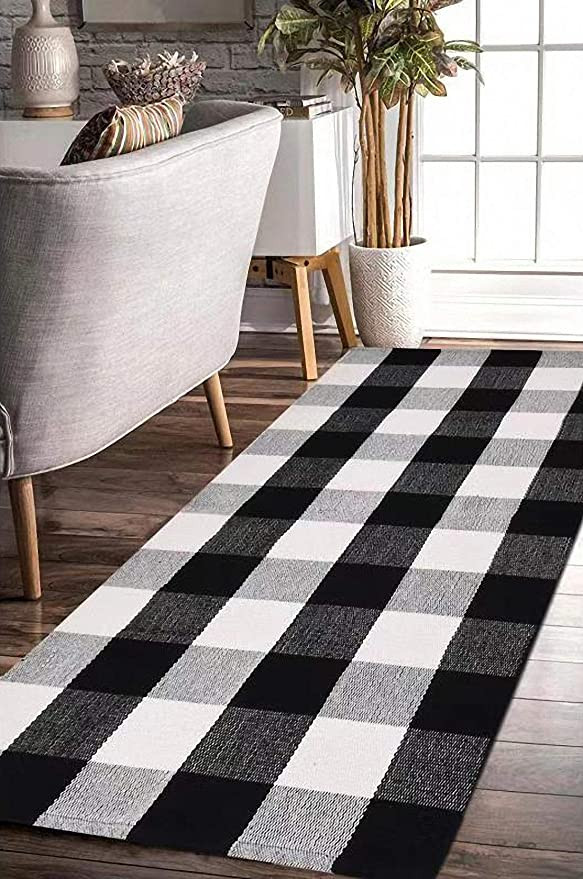 Black Rugs for Bedroom Earthall Buffalo Plaid Rug Black and White Rug Cotton Hand Woven Buffalo Check Rug Runner Hallway Runner Washable Plaid Outdoor Rug Entryway Front
