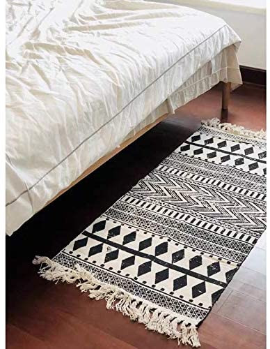 Black Rugs for Bedroom Floralsea Cotton Rug Washable 2x2 4 Feet Bohemian Black and Cream Hand Woven area Rug Runner Throw Rugs for Kitchen Bedroom Laundry Room