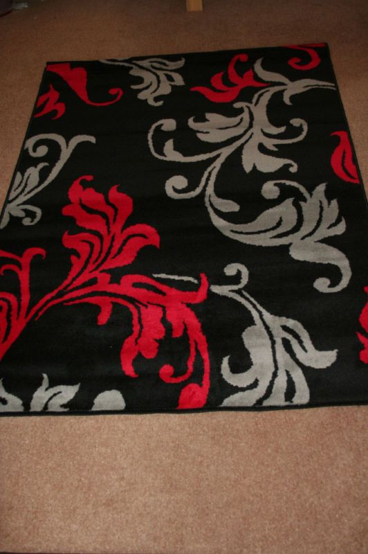 Black Rugs for Bedroom Modern Red Grey Black Damask Extra Large Rug Cheap