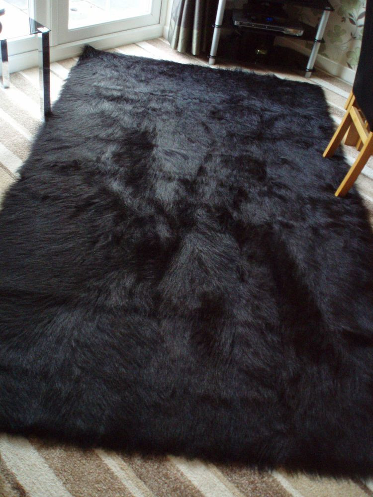 Black Rugs for Bedroom Special Offer Large Black Faux Sheepskin Shaggy Fluffy Rug