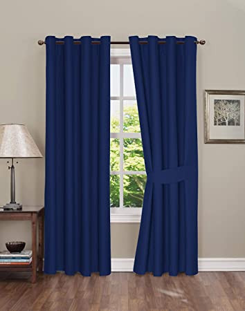 Blackout Drapes for Bedroom Blackout Curtain for Bedroom thermal Insulated Grommet Blackout Curtains 2 Panels Blackout Curtains with Tie Backs Dark Blue 42x63 Inch by Boston