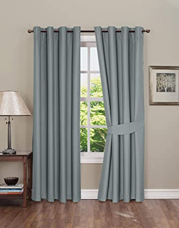 Blackout Drapes for Bedroom Blackout Curtain for Bedroom thermal Insulated Grommet Blackout Curtains 2 Panels Blackout Curtains with Tie Backs Gray 42x84 Inch by Boston Linen