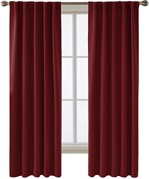 Blackout Drapes for Bedroom Deconovo Burgundy Red Blackout Curtain Panels for Bedroom Room Darkening Back Tab and Rod Pocket Curtains 42x72 Inch 2 Panels