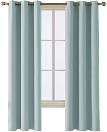 Blackout Drapes for Bedroom Deconovo Room Darkening thermal Insulated Blackout Grommet Window Curtain Panel for Bedroom Room Skyblue 42x84 Inch 1 Panel