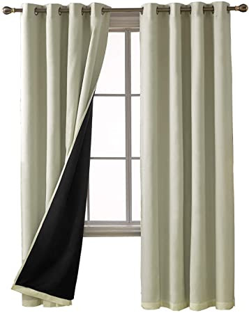 Blackout Drapes for Bedroom Deconovo total Blackout Curtains solid thermal Insulated Faux Silk Satin Grommet Window Curtains for Bedroom 52 X 54 Inch Beige 2 Panels