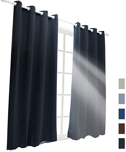 Blackout Drapes for Bedroom Mr Ding Blackout Curtains for Bedroom 2 Panels W52 Xl84 thermal Insulated with Grommet soft touch Privacy Protect Room Darkening Drapes Black