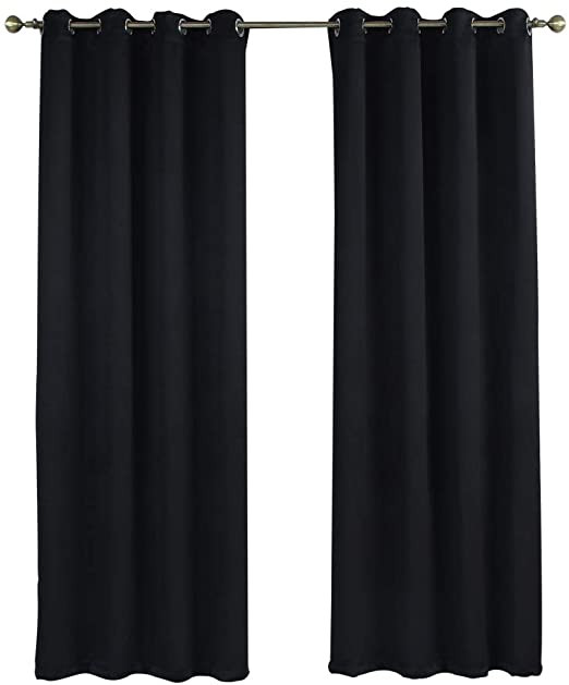 "Blackout Drapes for Bedroom Rama Rose Blackout Curtains Room Darkening thermal Insulated Grommets Window Curtains for Bedroom Living Room 54"" W X 90"" L 1 Panel Black"