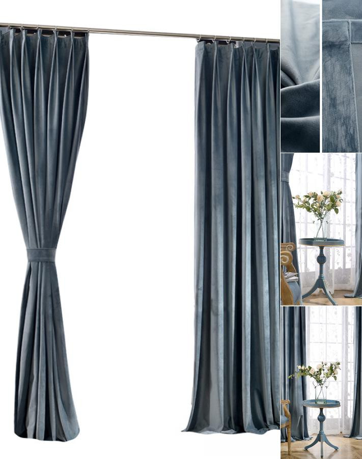 Blackout Drapes for Bedroom solid Gray Steel Blue Curtains Velvet Blackout Drapes for Bedroom