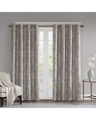 Blackout Drapes for Bedroom Sunsmart Blackout Curtains for Bedroom Traditional Grommet Taupe Window Curtains for Living Room Family Room Jenelle Paisley therma Black Out