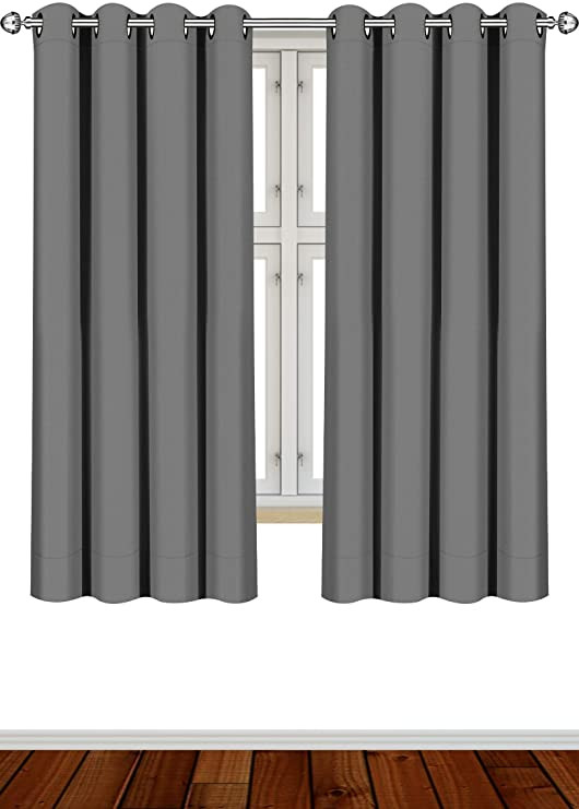 Blackout Drapes for Bedroom Utopia Bedding 2 Panels Grommet Blackout Curtains thermal Insulated for Bedroom W52 X L63 Inches Grey