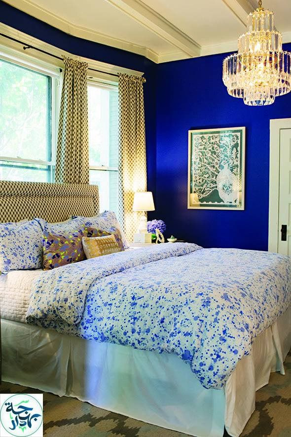Blue and Gold Bedroom Love the Wall Color