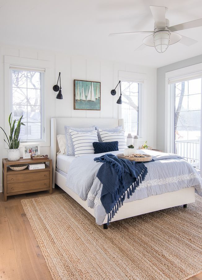 Blue and White Bedroom Decor White and Blue Lake House Master Bedroom