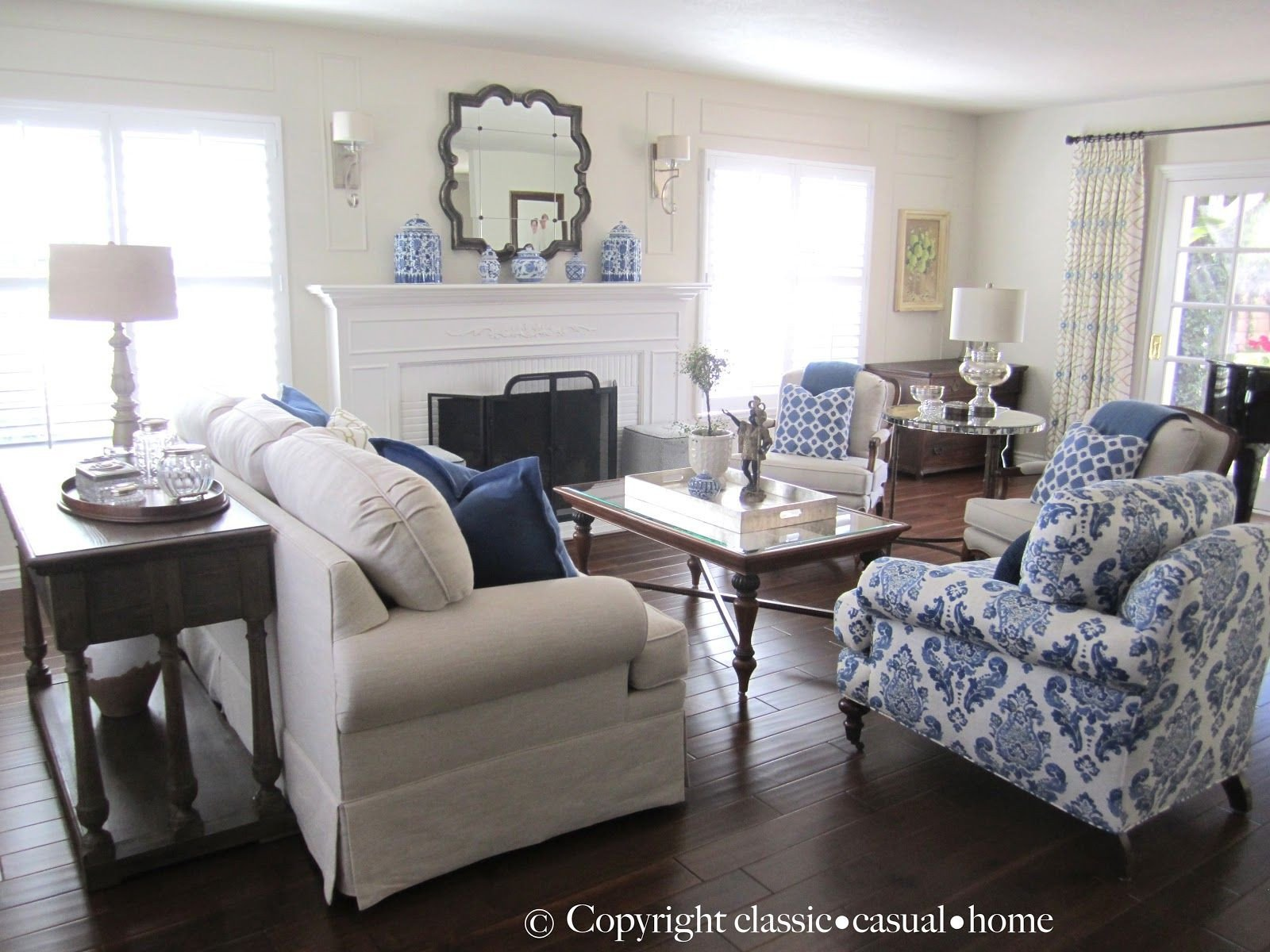 Blue Living Room Decor Ideas Blue White and Silver Timeless Design