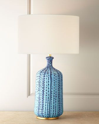 Blue Table Lamps Bedroom Aerin Culloden Pebbled Aquamarine Table Lamp In 2020