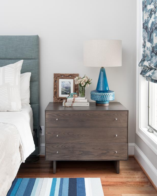 Blue Table Lamps Bedroom Contemporary Master Bedroom with Blue Table Lamp
