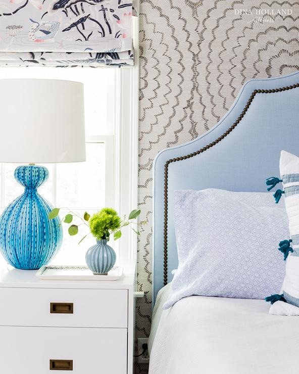Blue Table Lamps Bedroom Powder Blue Headboard with Blue Bedside Lamp Transitional