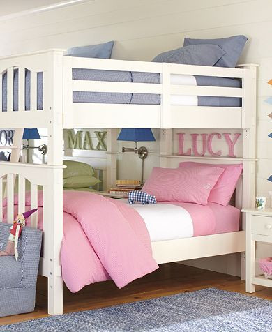 Boy and Girl In Bedroom Gingham Bedroom Pottery Barn Kids