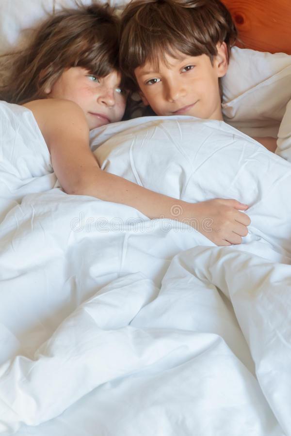 Boy and Girl In Bedroom Siblings Boy Girl Sleeping Bed Stock S Download 247