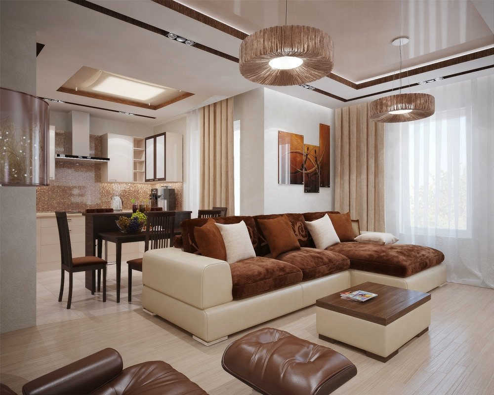 Brown Living Room Ideas Living Modern with Nature tones & Color Blasts