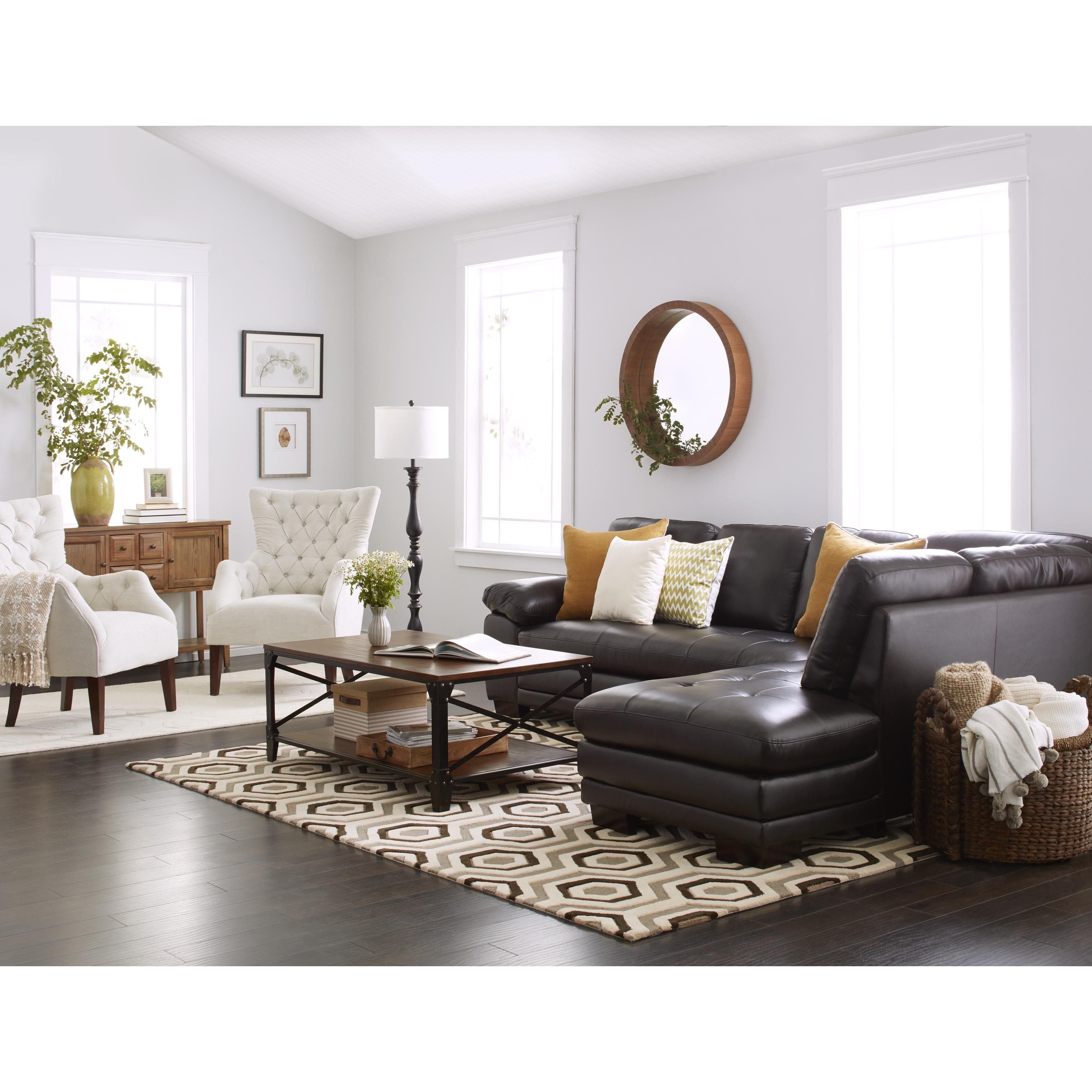 Brown sofa Living Room Decor Abbyson Living Devonshire Brown Leather Tufted Sectional