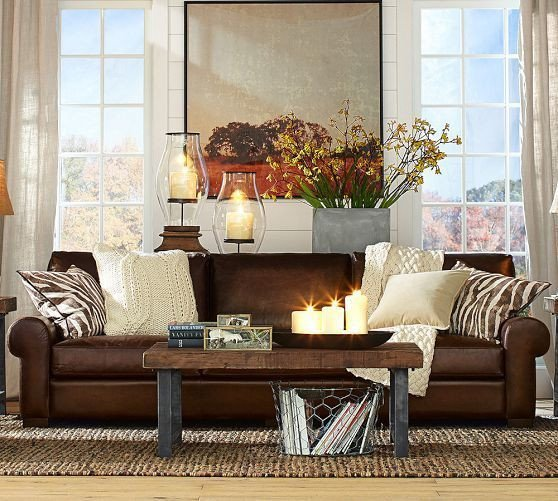 Brown sofa Living Room Decor Turner Leather sofa Pottery Barn Google Search