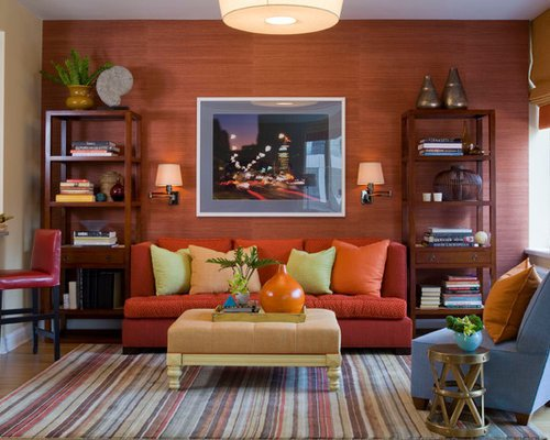 Burnt orange Living Room Decor Burnt orange Ottomans